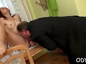 Old old bean knows how to make a pleasant young pussy honcho wet