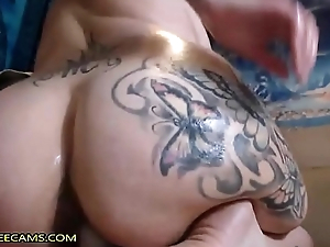 Whacking big Pain in the neck Brunette Fucks Absolutely Creamy Pussy