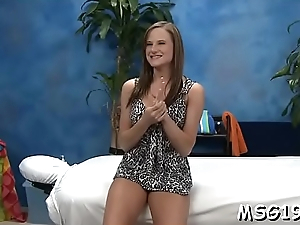 Amazing gal with perky tits receives pleasure be fitting of deep  mouth job