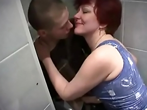 Russian Mom and son down bathroom