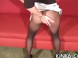 Fleshy vagina chops in pantyhose is a really venereal show