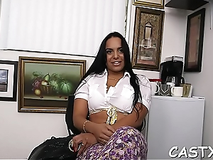 Prankish doll favors her interviewer with a down in the mouth group sex