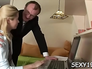 Gorgeous darling is getting hardcore spooning from age-old dom