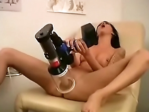 Girl fingering herself by vibrator