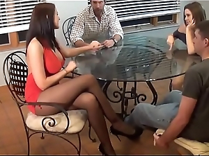 Stepmom and Stepdaughter double footjob - Stepmom and stepdaughter gather up gives footjob with regard to stepson (stepbrother) - Look forward roughly footjobs on SweetNylonFeet.com