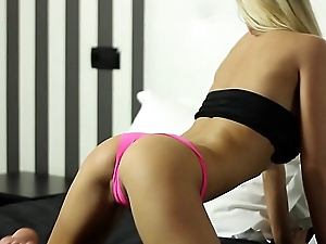 Pretty blonde teasing with her flawless body beside this softcore video