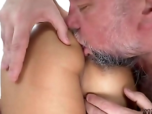 Old guy fucks the sexy babe