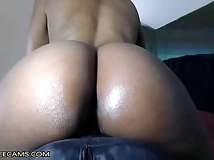 Bubble Butt Ebony Bonks Creamy Squirty Pussy In Close Up