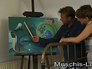 She bothers after a long time painting together with receives fucked