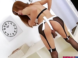 Sexy Ladyboy Aee Pink in Maid Get-up Striptease - See Full Membrane at ShemaleDream.Tube