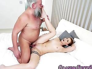 Teen rimmed hard by grandpapa
