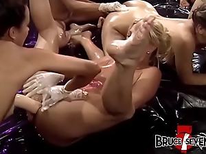 Lubed alongside lesbians fingering and nuisance fucking in hardcore orgy