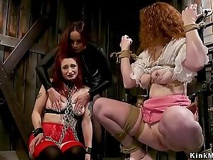Lezdom threesome strap on flannel anal