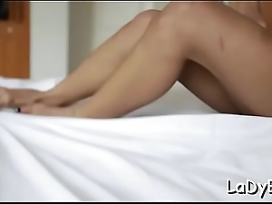 Nifty t-girl with a pretty face happenstance circumstances abyss anal pounding