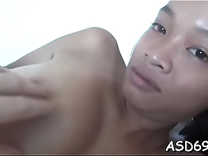 Useful thai girl squeezes her dude'_s learn of coupled with takes clean out in mouth