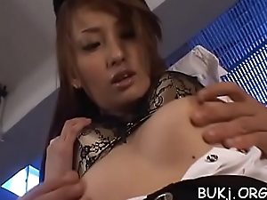 Agreeable japan dilettante wants cock juice on her element and lips