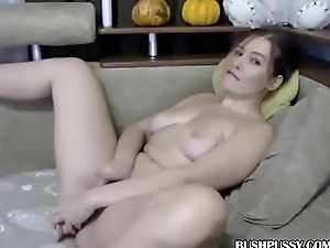 Light skin brunette fucks hairy pussy helter-skelter dildo and rubs love button on web camera