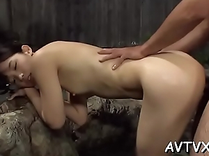 Asian spread out gets her shaggy wet crack screwed ferociously