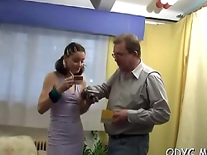 Stupefying old and juvenile fucking with hot babe getting it hard