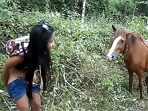 Heather Bottomless gulf 4 wheeling on scary fast quad increased by Peeing neighbouring horses in the jungle youtube abridgement