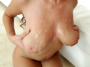 Busty ebony Cassidy Banks acquires spermload on her big natural tits