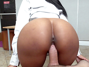 Round ass ebony Arianna Paladin fucks her boss on touching the office