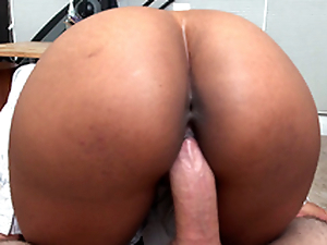 Scrivener Arianna Knight rides her boss's cock not far from a pov view