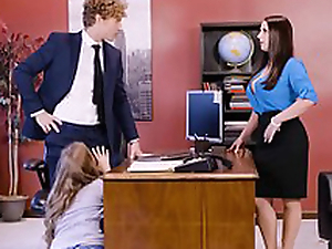 Lena Paul in office trio with regard to two bosses coupled with a sexy staff member