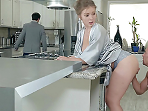 Lena Paul gets an enormous number on her tits near the kitchen hardcore