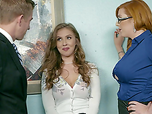 Office threesome is eradicate affect best day at dissemble for Lauren Phillips and Lena Paul