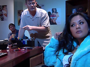 Gorgeous Alektra Blue and Kaylani Lei love surprising FFM carnal knowledge indoors