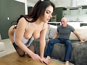 Valentina Nappi less french maid uniform is cleaning the house