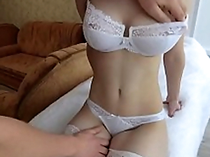 Youthful girlfriend in ashen stockings with big Tits throat likes Blowjob and tender sex!