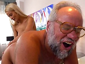 Chary Kiss and her a much elder lover - Grandpas Fuck Teens