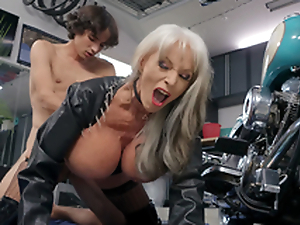 Debit D'Angelo gets pounded overwrought young Ricky Spanish next in her Harley