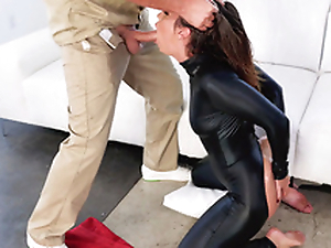 Fellatrix Kelsi Monroe wears black catsuit during XXX engulfing