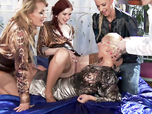 Flaxen-haired Adel Sunshine dominated by four XXX sweethearts who pee on her