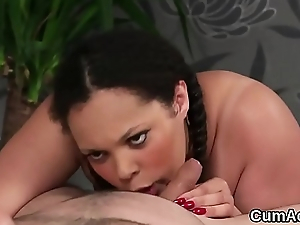 Chap-fallen looker gets cum load on her face swallowing in every direction the jism