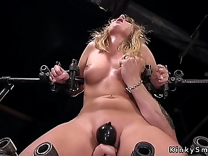 Take charge blonde about device bondage feet tormented