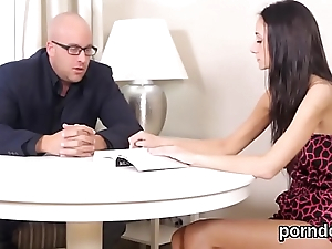 Erotic schoolgirl receives teased and nailed by senior teacher