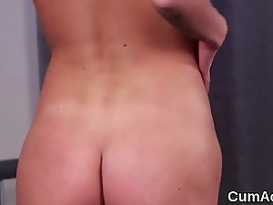 Sultry beauty gets cum load on her face gulping all the spunk