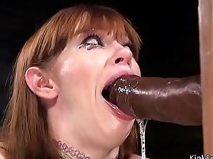 Hogtied redhead Milf electro blow one's mind