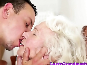 Bigtits granny likes gagging on fat cock