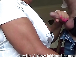British mature amateur bends lack of restraint and gets her Ashen cotton panties fucked.