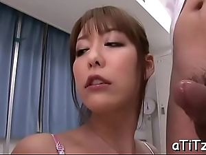 Horny chap gives wet carpet munch before gender busty asian