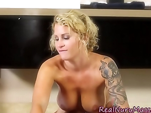 Nuru massaging indulge jerks
