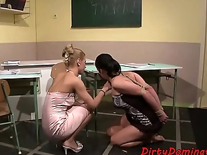 Lezdom teacher punishing bound sub teen