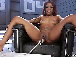 Ebony squirting and fucking tool