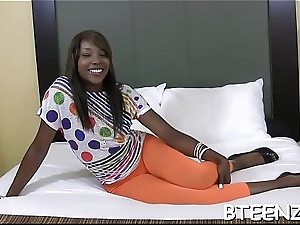 Hawt ebony honey takes part in daunting interracial sex