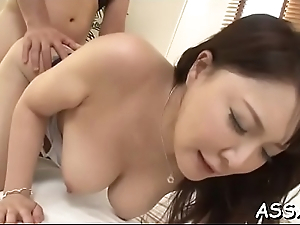 Fascinating asian enjoys lusty snatch shaving up ahead rough butt slam